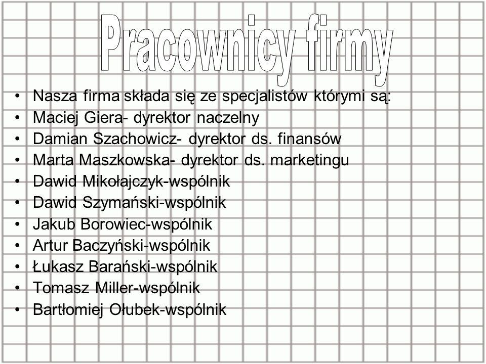 Nasza firma składa się ze specjalistów którymi są: Maciej Giera- dyrektor naczelny Damian Szachowicz- dyrektor ds.