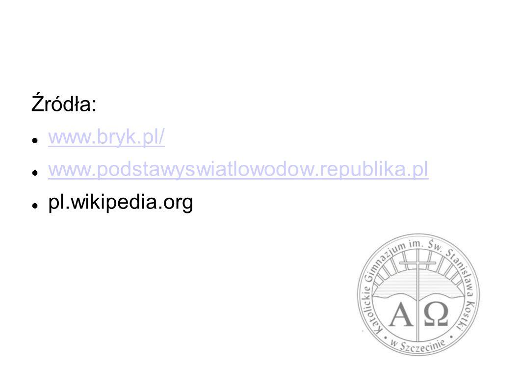 Źródła: www.bryk.pl/ www.podstawyswiatlowodow.republika.pl pl.wikipedia.org