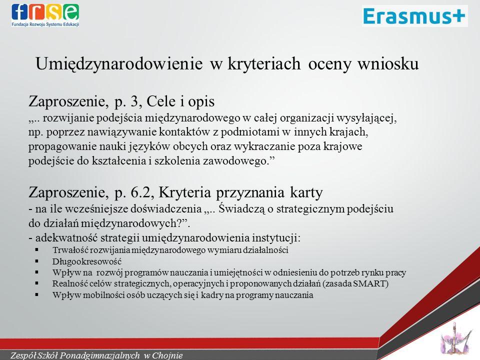 Umiędzynarodowienie w kryteriach oceny wniosku Zaproszenie, p.