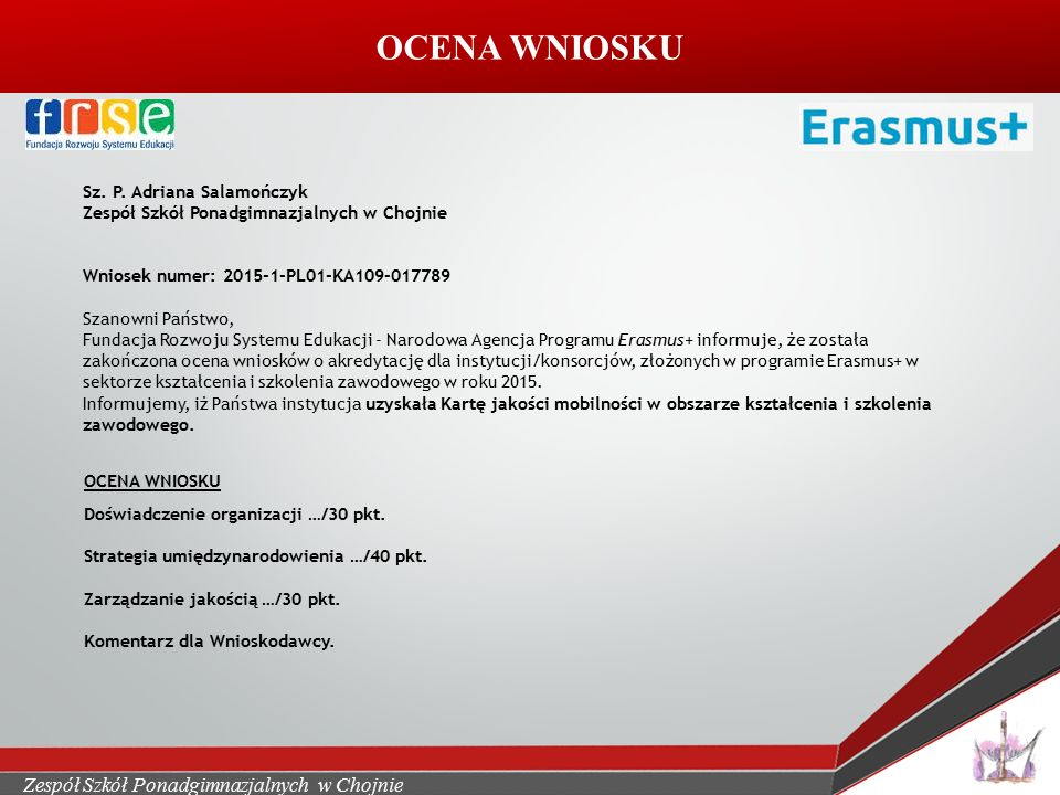OCENA WNIOSKU Sz. P.