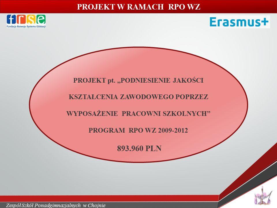 Zespół Szkół Ponadgimnazjalnych w Chojnie Projekty mobilności zawodowej – cd.