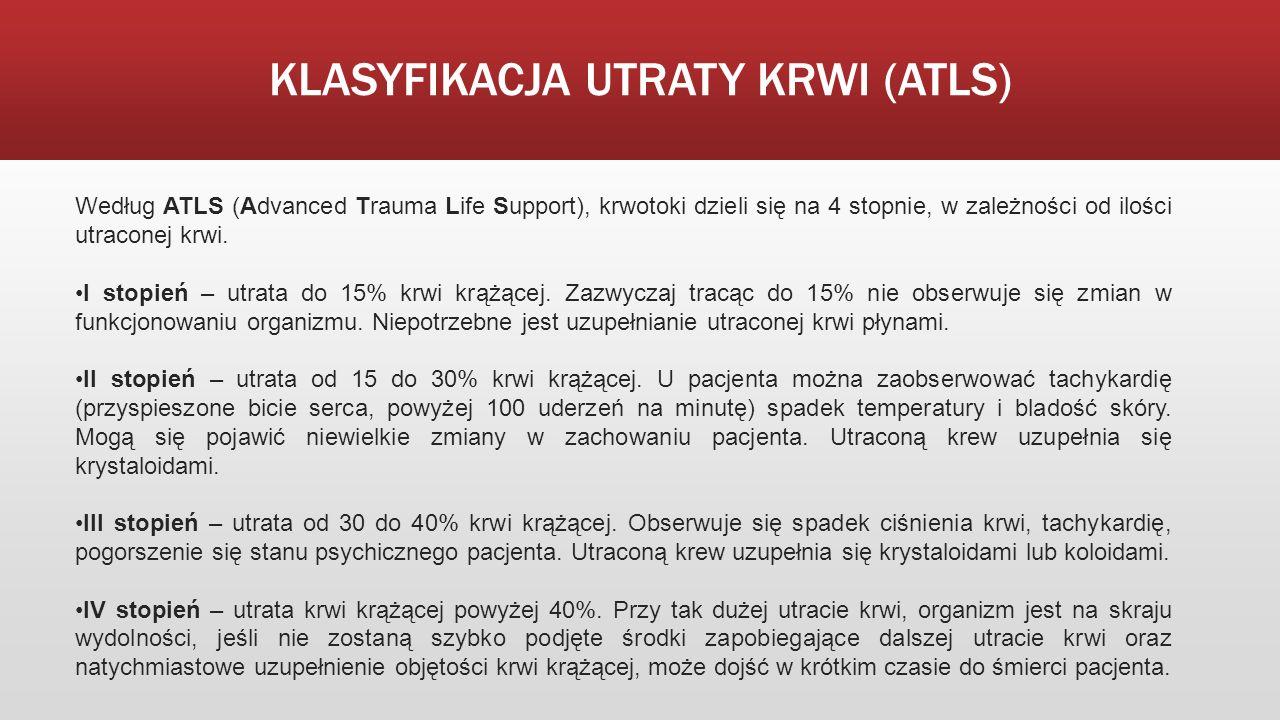 KLASYFIKACJA UTRATY KRWI (ATLS) Według ATLS (Advanced Trauma Life Support), krwotoki dzieli się na 4 stopnie, w zależności od ilości utraconej krwi. I
