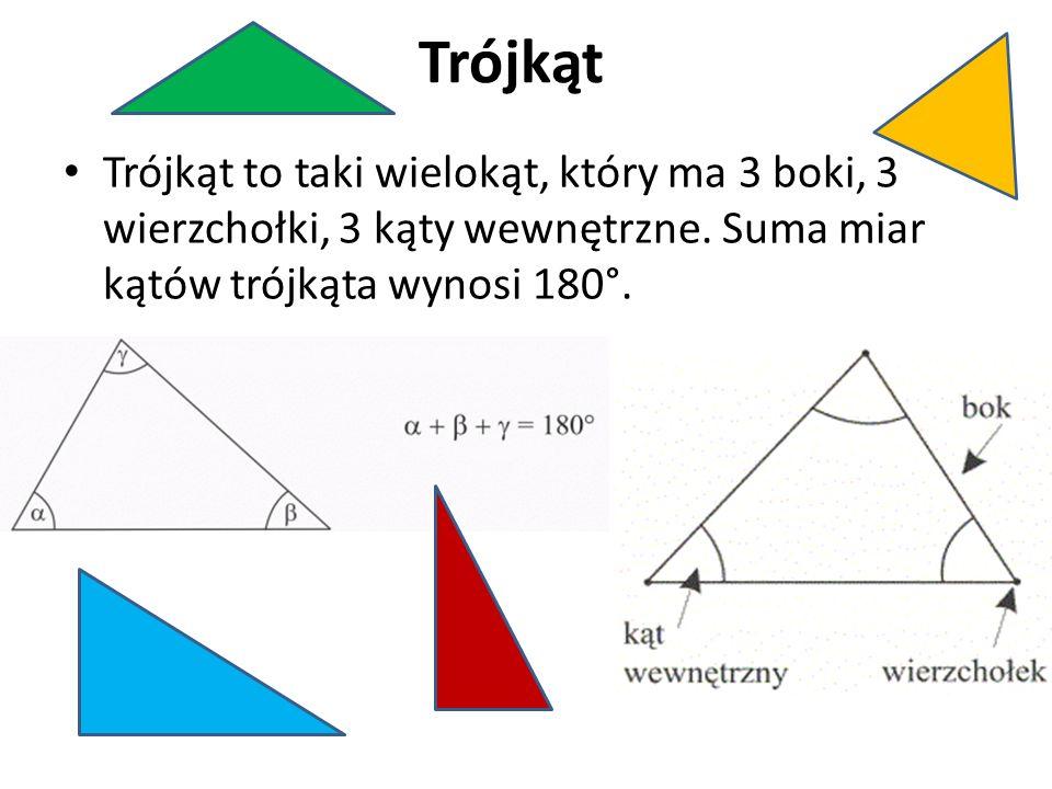 Podział trójkątów ze względu na boki różnoboczny - 3 boki różnej długości równoramienny - dwa boki, zwane ramionami, mają jednakową długość równoboczny - 3 boki równej długości