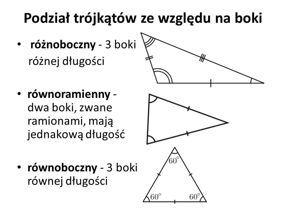Podział trójkątów ze względu na kąty trójkąt ostrokątny - trójkąt, którego wszystkie kąty są ostre trójkąt rozwartokątny - to trójkąt, w którym co najmniej jeden z kątów jest rozwarty