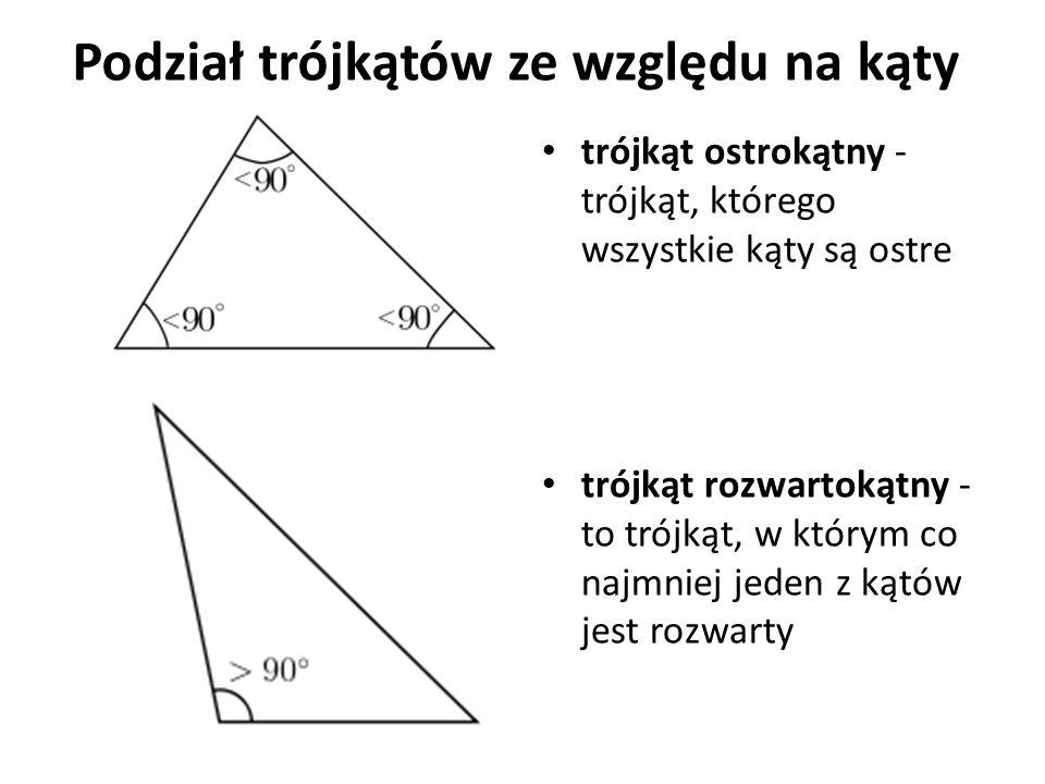 trójkąt prostokątny - trójkąt, w którym jeden z kątów jest prosty Boki trójkąta prostokątnego mają swoje nazwy:
