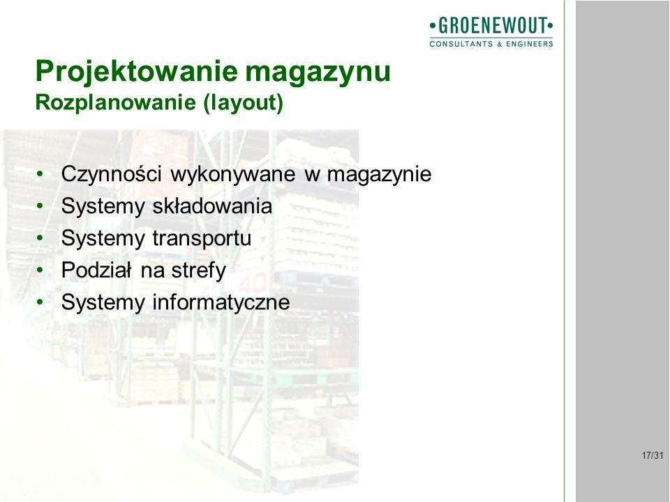 17/31 Projektowanie magazynu Rozplanowanie (layout) Czynności wykonywane w magazynie Systemy składowania Systemy transportu Podział na strefy Systemy informatyczne