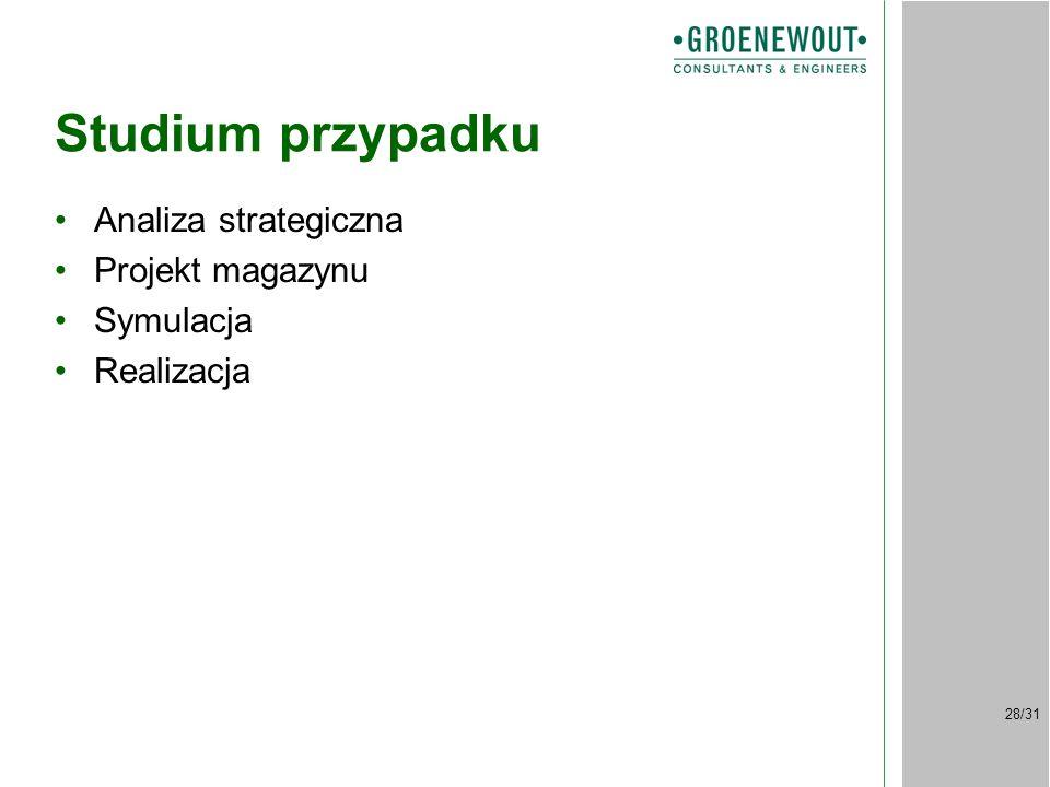 28/31 Studium przypadku Analiza strategiczna Projekt magazynu Symulacja Realizacja