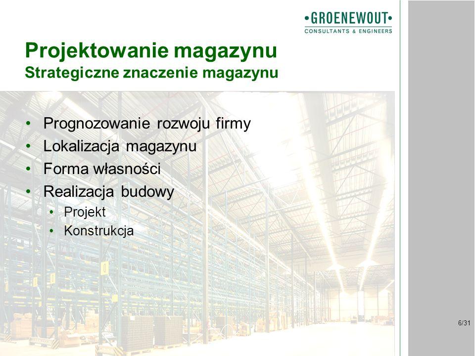 6/31 Projektowanie magazynu Strategiczne znaczenie magazynu Prognozowanie rozwoju firmy Lokalizacja magazynu Forma własności Realizacja budowy Projekt Konstrukcja