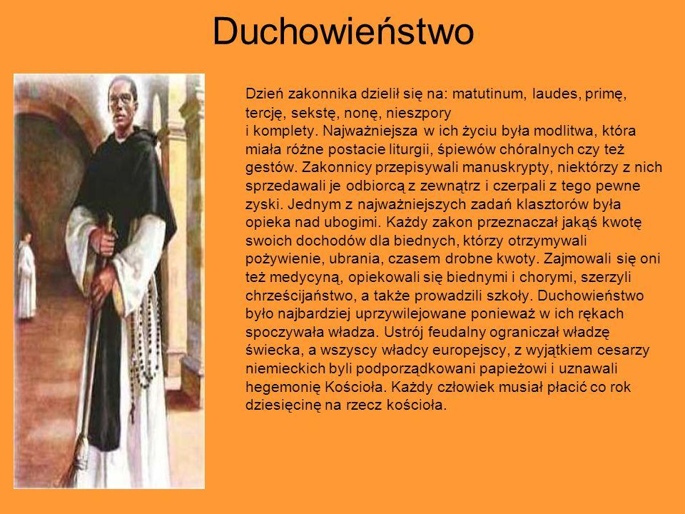 Duchowieństwo Dzień zakonnika dzielił się na: matutinum, laudes, primę, tercję, sekstę, nonę, nieszpory i komplety.