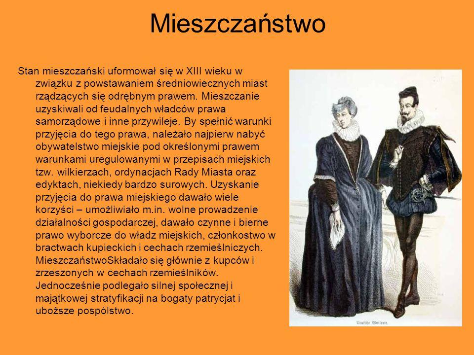 Mieszczaństwo Stan mieszczański uformował się w XIII wieku w związku z powstawaniem średniowiecznych miast rządzących się odrębnym prawem.