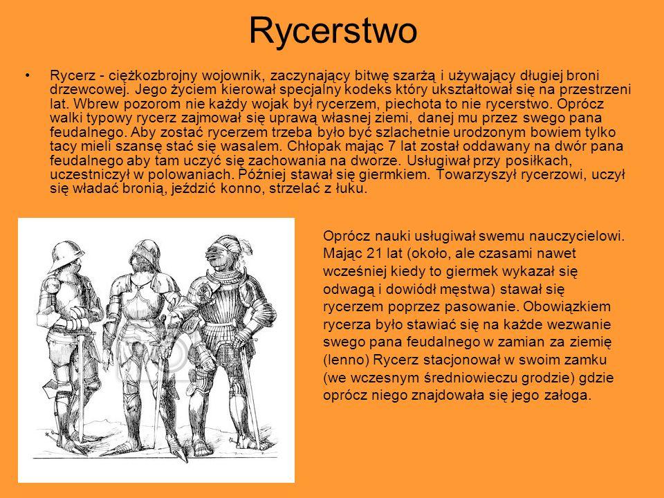 Rycerstwo Rycerz - ciężkozbrojny wojownik, zaczynający bitwę szarżą i używający długiej broni drzewcowej.