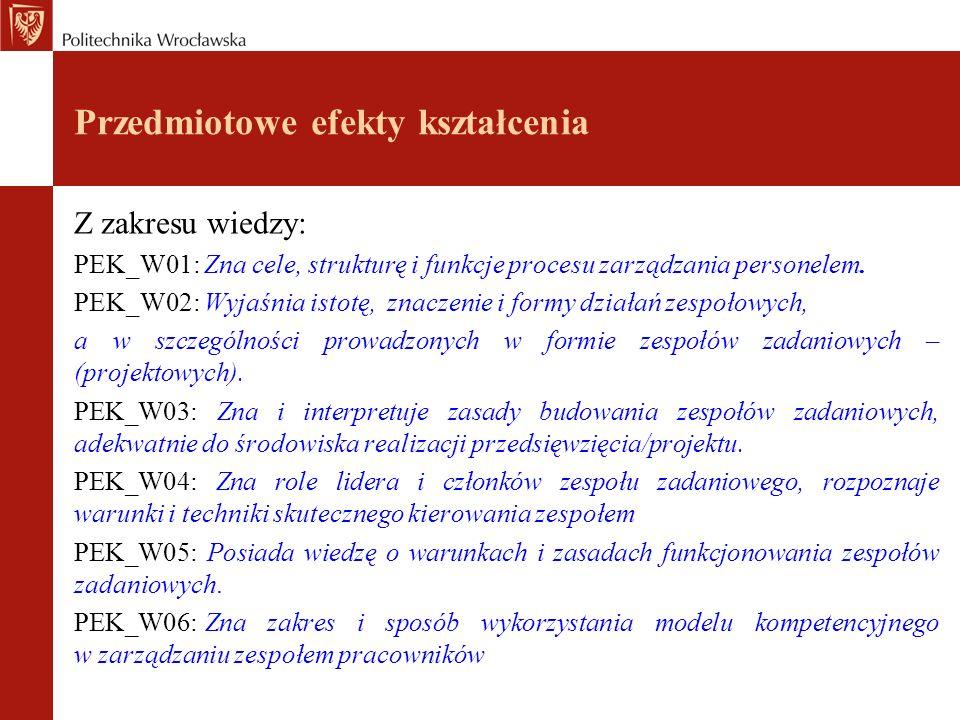 Przedmiotowe efekty kształcenia Z zakresu wiedzy: PEK_W01: Zna cele, strukturę i funkcje procesu zarządzania personelem.