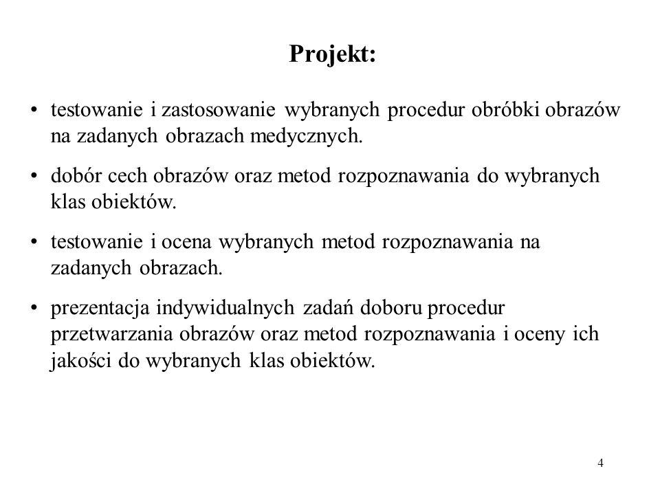 4 Projekt: testowanie i zastosowanie wybranych procedur obróbki obrazów na zadanych obrazach medycznych.