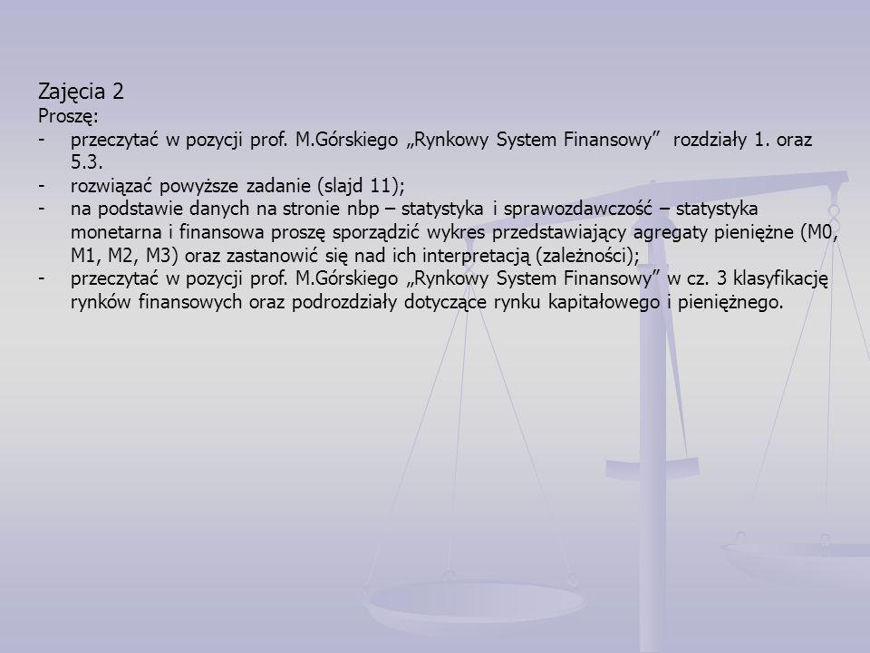 """Zajęcia 2 Proszę: -przeczytać w pozycji prof. M.Górskiego """"Rynkowy System Finansowy rozdziały 1."""
