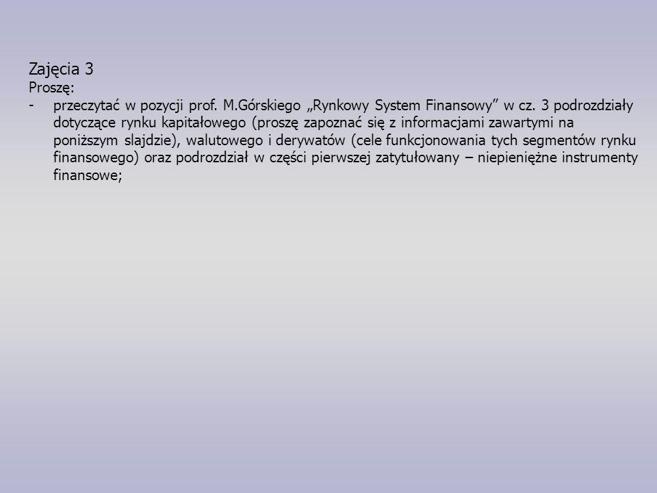 """Zajęcia 3 Proszę: -przeczytać w pozycji prof. M.Górskiego """"Rynkowy System Finansowy w cz."""