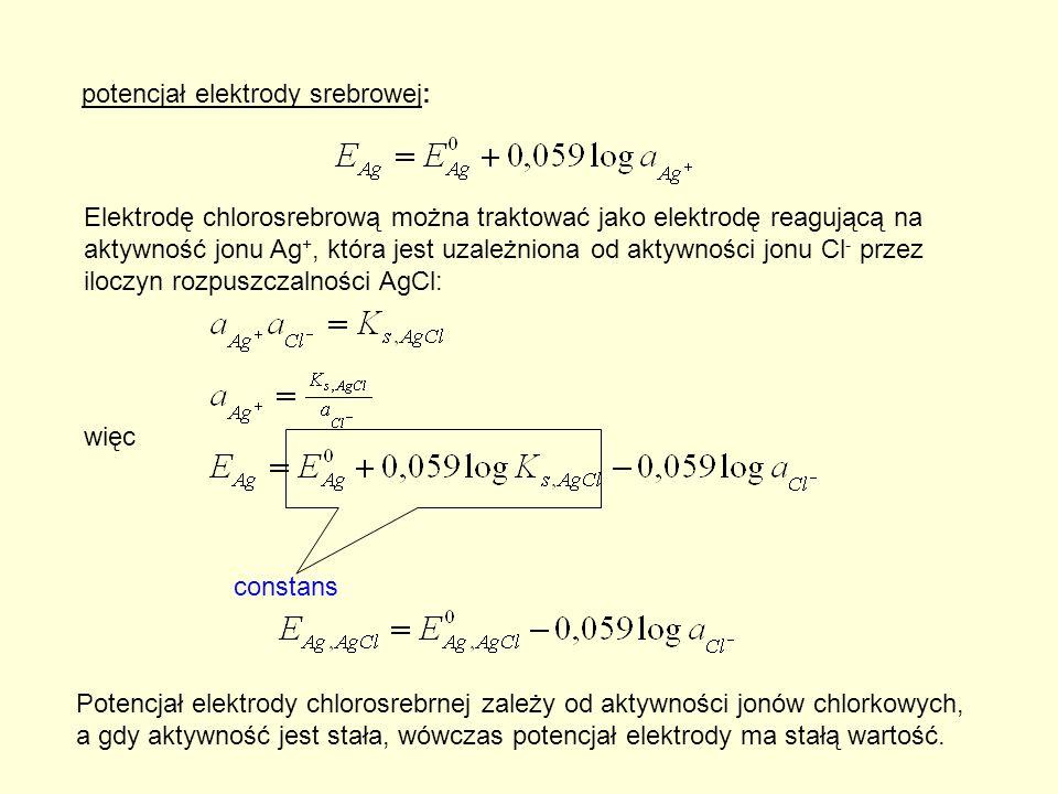 potencjał elektrody srebrowej: Elektrodę chlorosrebrową można traktować jako elektrodę reagującą na aktywność jonu Ag +, która jest uzależniona od aktywności jonu Cl - przez iloczyn rozpuszczalności AgCl: więc constans Potencjał elektrody chlorosrebrnej zależy od aktywności jonów chlorkowych, a gdy aktywność jest stała, wówczas potencjał elektrody ma stałą wartość.