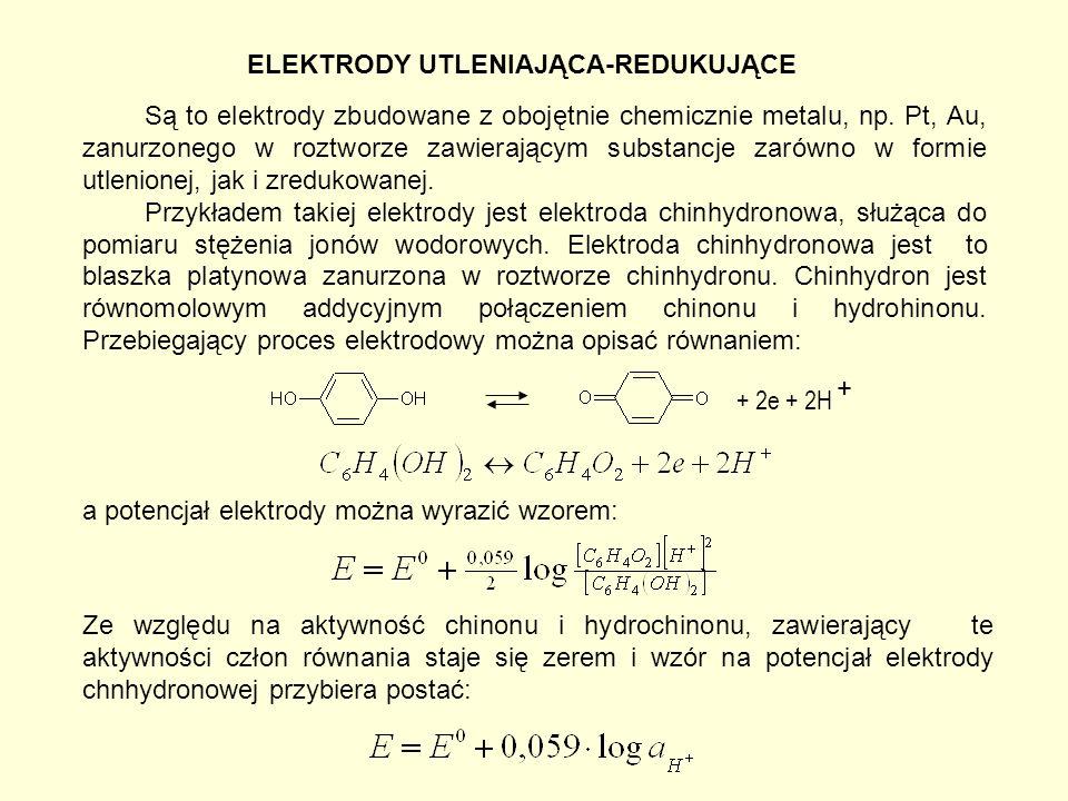 ELEKTRODY UTLENIAJĄCA-REDUKUJĄCE Są to elektrody zbudowane z obojętnie chemicznie metalu, np.