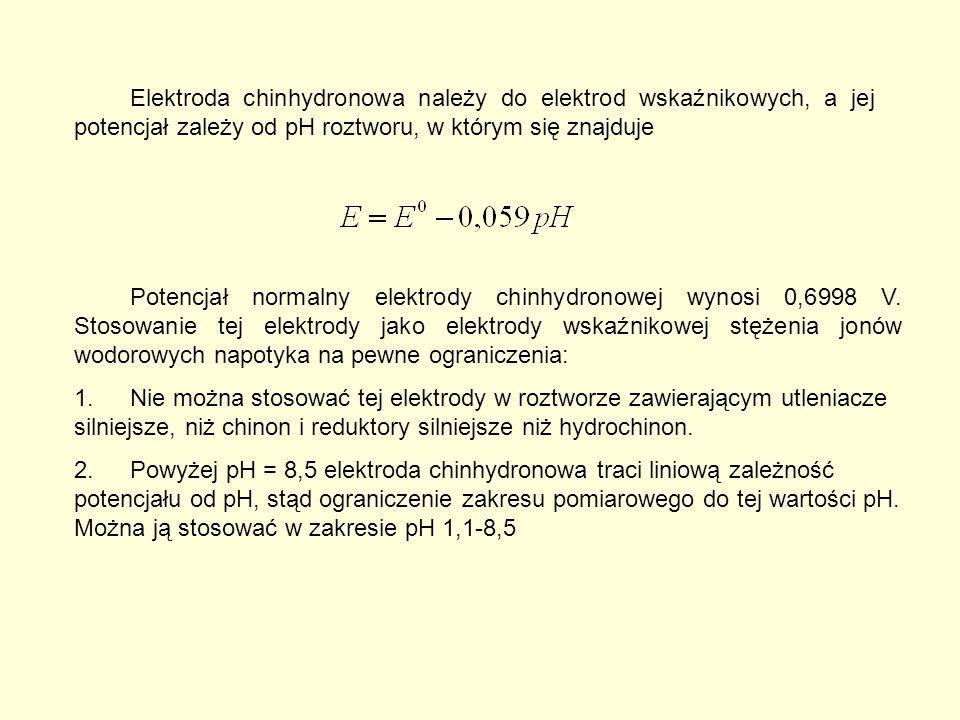 Potencjał normalny elektrody chinhydronowej wynosi 0,6998 V.