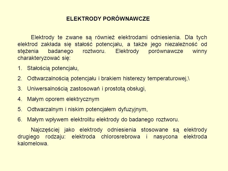 ELEKTRODY PORÓWNAWCZE Elektrody te zwane są również elektrodami odniesienia.