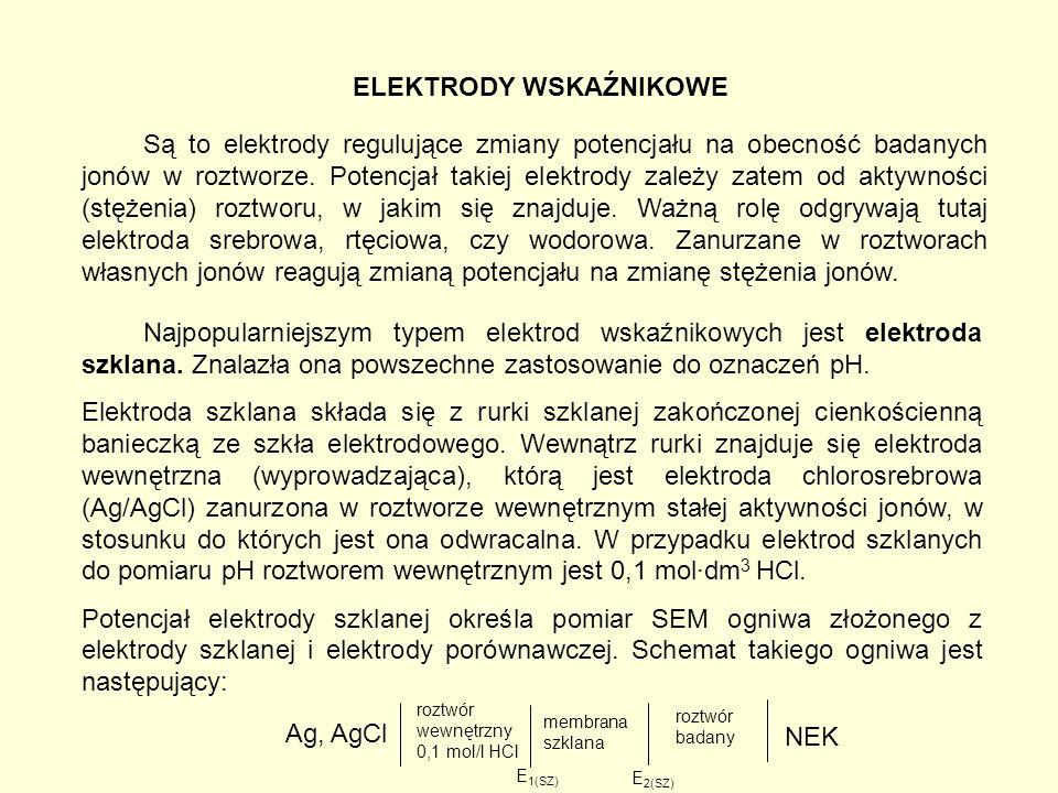ELEKTRODY WSKAŹNIKOWE Są to elektrody regulujące zmiany potencjału na obecność badanych jonów w roztworze.