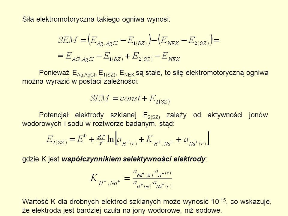 Siła elektromotoryczna takiego ogniwa wynosi: Ponieważ E Ag,AgCl, E 1(SZ), E NEK są stałe, to siłę elektromotoryczną ogniwa można wyrazić w postaci zależności: Potencjał elektrody szklanej E 2(SZ) zależy od aktywności jonów wodorowych i sodu w roztworze badanym, stąd: gdzie K jest współczynnikiem selektywności elektrody: Wartość K dla drobnych elektrod szklanych może wynosić 10 -15, co wskazuje, że elektroda jest bardziej czuła na jony wodorowe, niż sodowe.