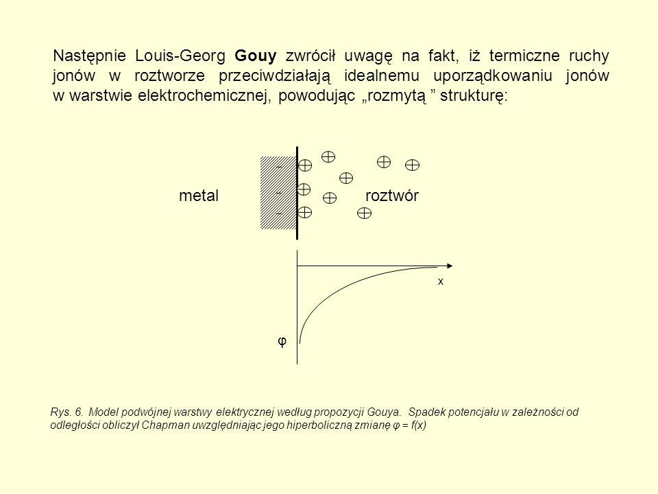 """Następnie Louis-Georg Gouy zwrócił uwagę na fakt, iż termiczne ruchy jonów w roztworze przeciwdziałają idealnemu uporządkowaniu jonów w warstwie elektrochemicznej, powodując """"rozmytą strukturę: x φ roztwórmetal Rys."""