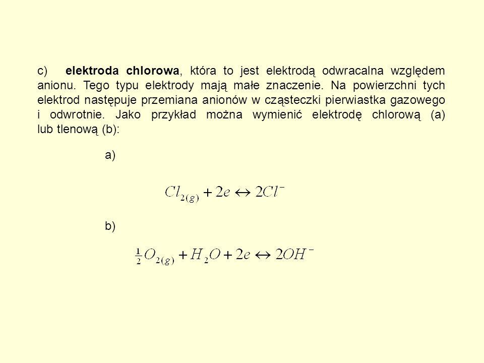 c)elektroda chlorowa, która to jest elektrodą odwracalna względem anionu.
