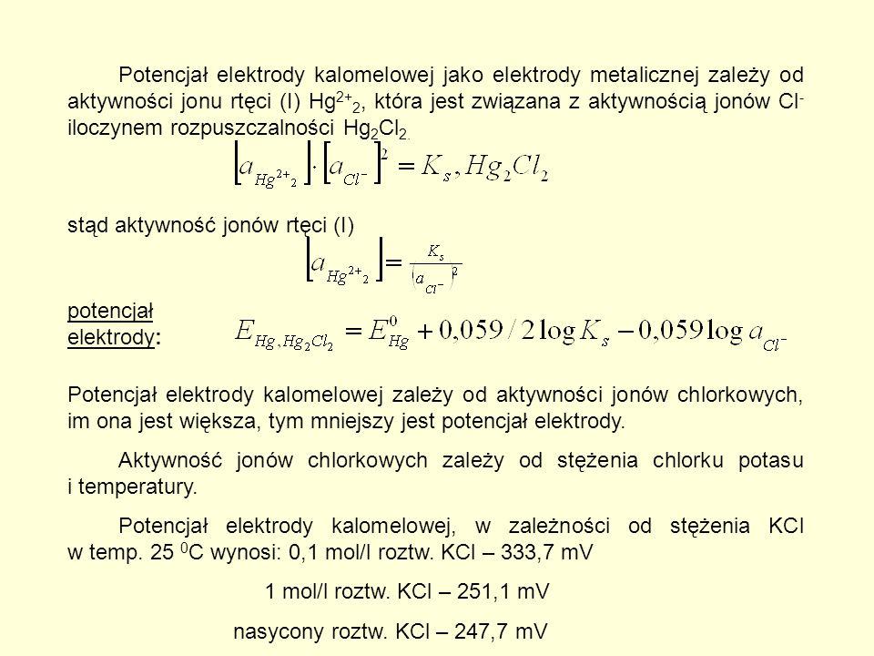 Potencjał elektrody kalomelowej jako elektrody metalicznej zależy od aktywności jonu rtęci (I) Hg 2+ 2, która jest związana z aktywnością jonów Cl - iloczynem rozpuszczalności Hg 2 Cl 2.