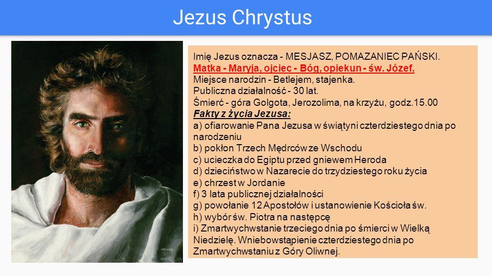 Jezus Chrystus Imię Jezus oznacza - MESJASZ, POMAZANIEC PAŃSKI.
