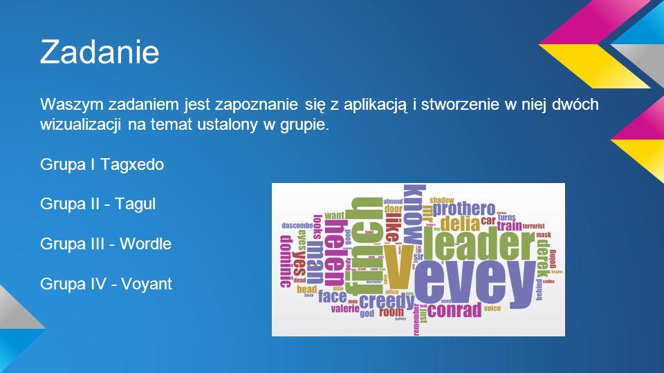 Zadanie Waszym zadaniem jest zapoznanie się z aplikacją i stworzenie w niej dwóch wizualizacji na temat ustalony w grupie.