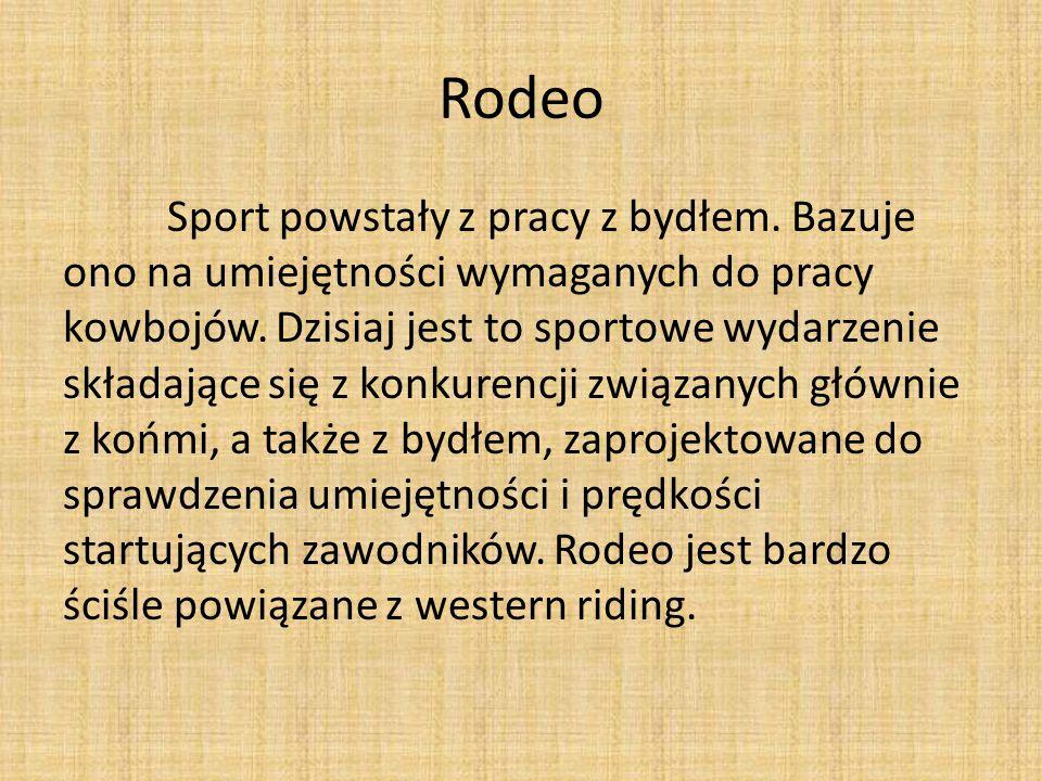 Rodeo Sport powstały z pracy z bydłem. Bazuje ono na umiejętności wymaganych do pracy kowbojów. Dzisiaj jest to sportowe wydarzenie składające się z k