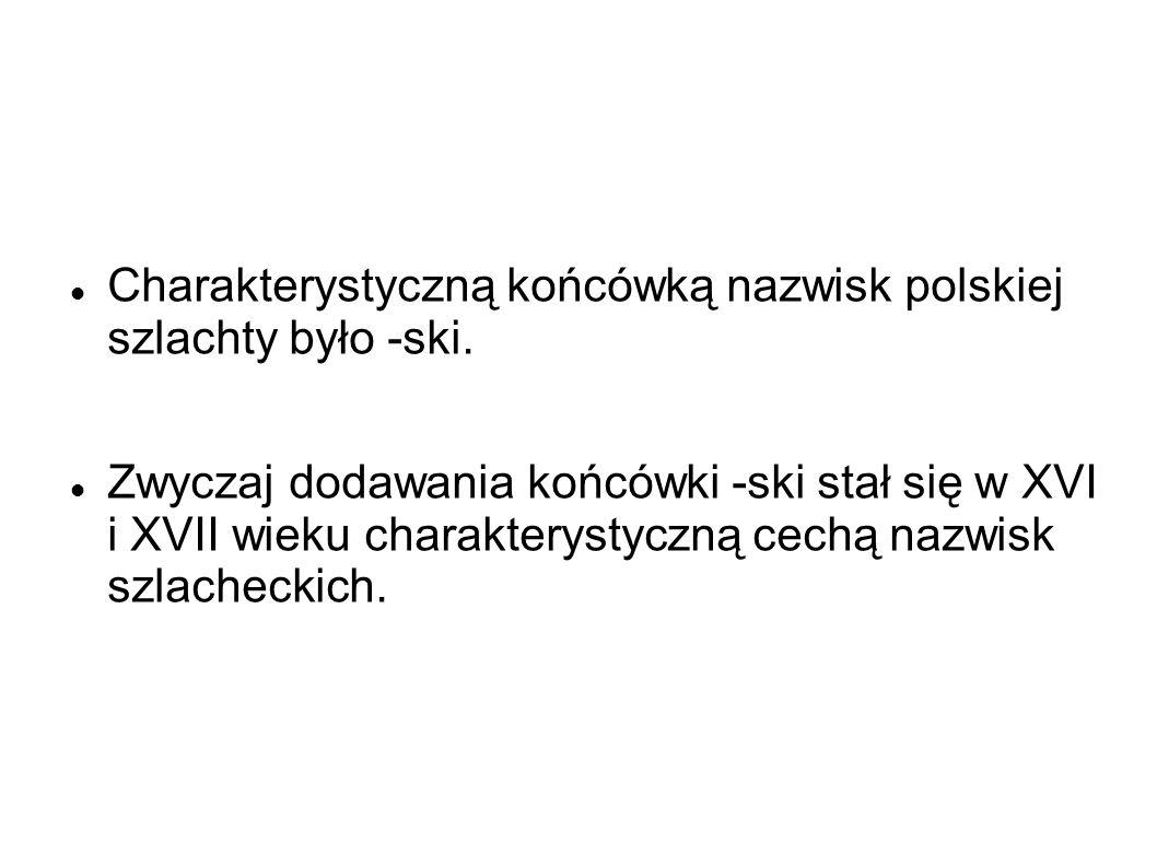 Charakterystyczną końcówką nazwisk polskiej szlachty było -ski. Zwyczaj dodawania końcówki -ski stał się w XVI i XVII wieku charakterystyczną cechą na