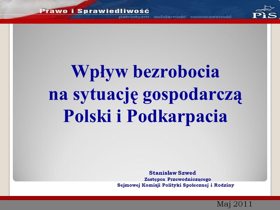 Maj 2011 Wpływ bezrobocia na sytuację gospodarczą Polski i Podkarpacia Stanisław Szwed Zastępca Przewodniczącego Sejmowej Komisji Polityki Społecznej