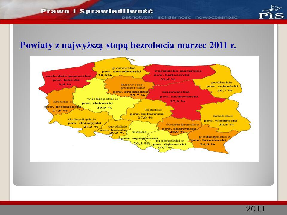 2011 Stopa bezrobocia rejestrowanego w poszczególnych powiatach woj.