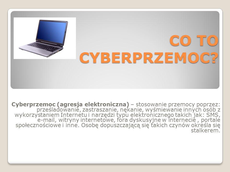CO TO CYBERPRZEMOC? Cyberprzemoc (agresja elektroniczna) – stosowanie przemocy poprzez: prześladowanie, zastraszanie, nękanie, wyśmiewanie innych osób