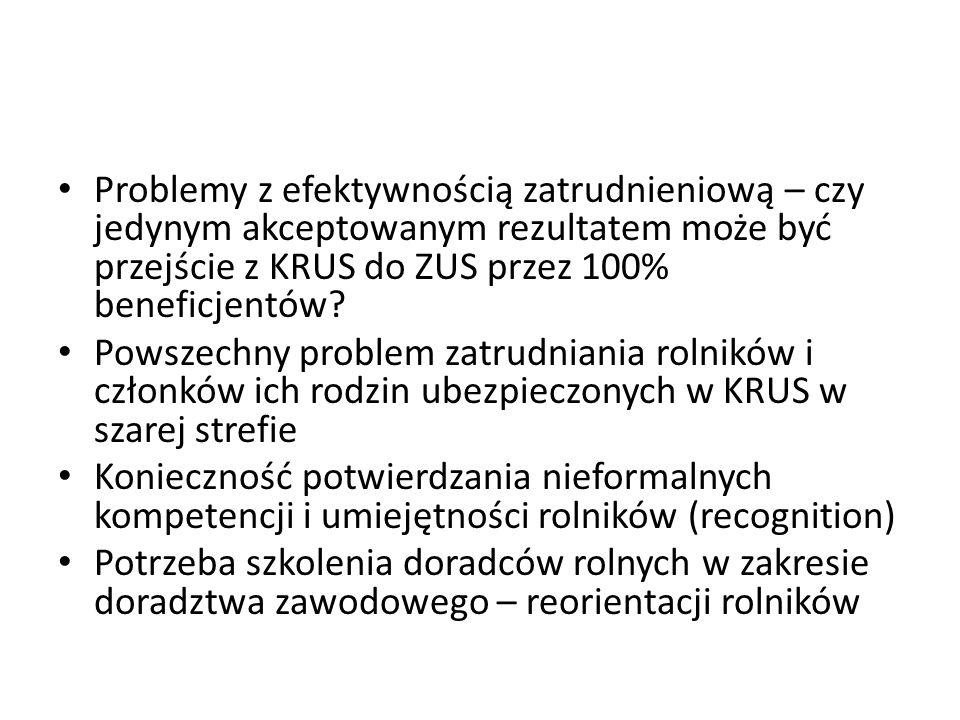 Problemy z efektywnością zatrudnieniową – czy jedynym akceptowanym rezultatem może być przejście z KRUS do ZUS przez 100% beneficjentów.
