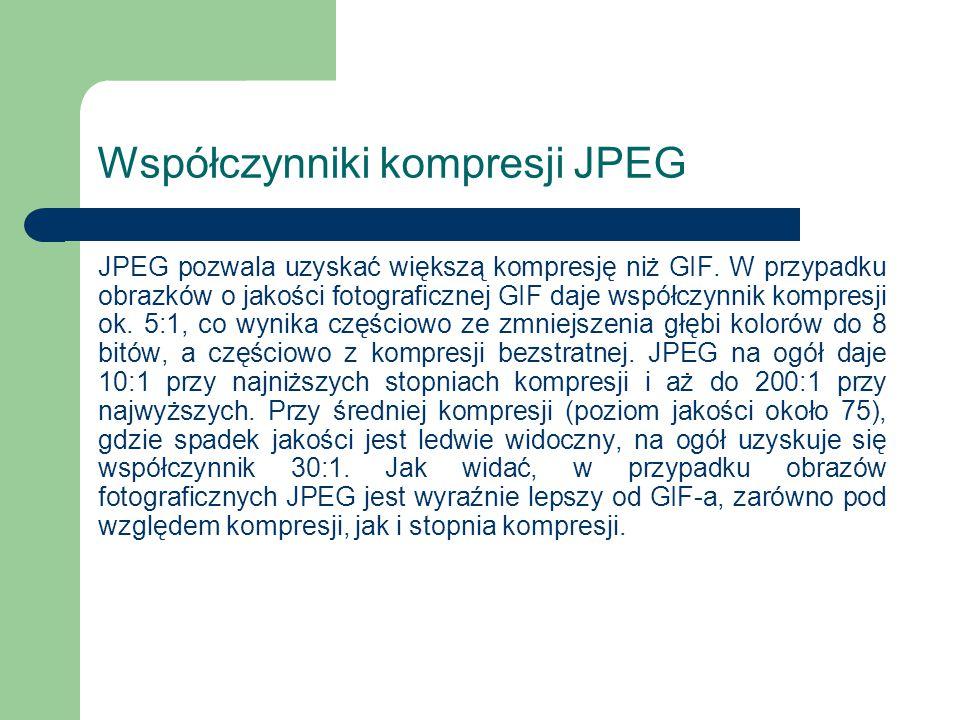Współczynniki kompresji JPEG JPEG pozwala uzyskać większą kompresję niż GIF. W przypadku obrazków o jakości fotograficznej GIF daje współczynnik kompr