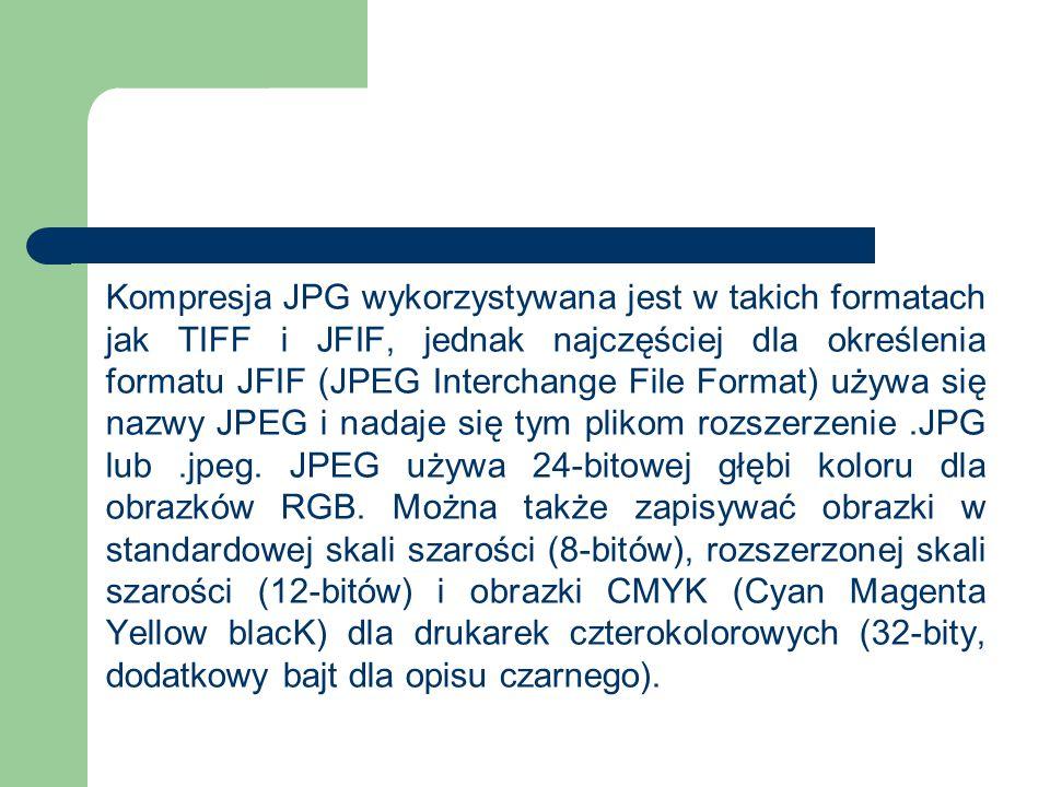 Kompresja JPG wykorzystywana jest w takich formatach jak TIFF i JFIF, jednak najczęściej dla określenia formatu JFIF (JPEG Interchange File Format) używa się nazwy JPEG i nadaje się tym plikom rozszerzenie.JPG lub.jpeg.