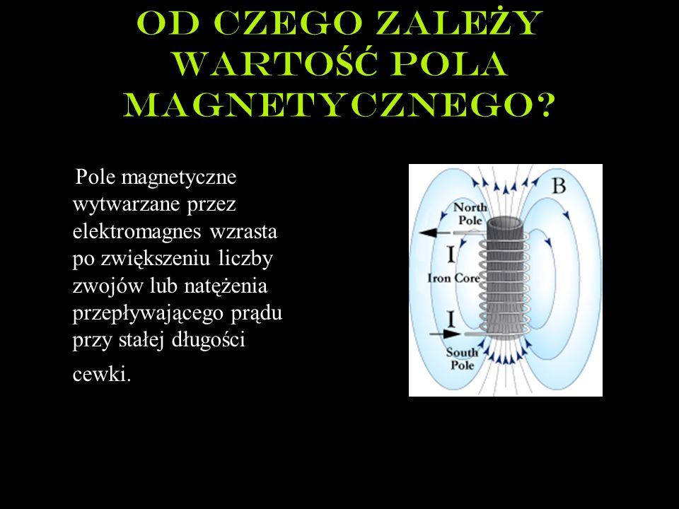 Od czego zale Ż y warto ŚĆ Pola magnetycznego? Pole magnetyczne wytwarzane przez elektromagnes wzrasta po zwiększeniu liczby zwojów lub natężenia prze