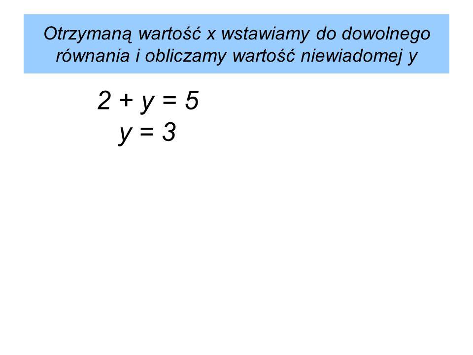 Otrzymaną wartość x wstawiamy do dowolnego równania i obliczamy wartość niewiadomej y 2 + y = 5 y = 3