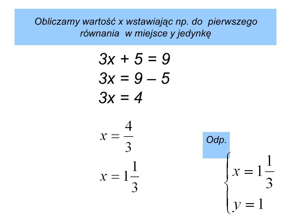 Obliczamy wartość x wstawiając np.