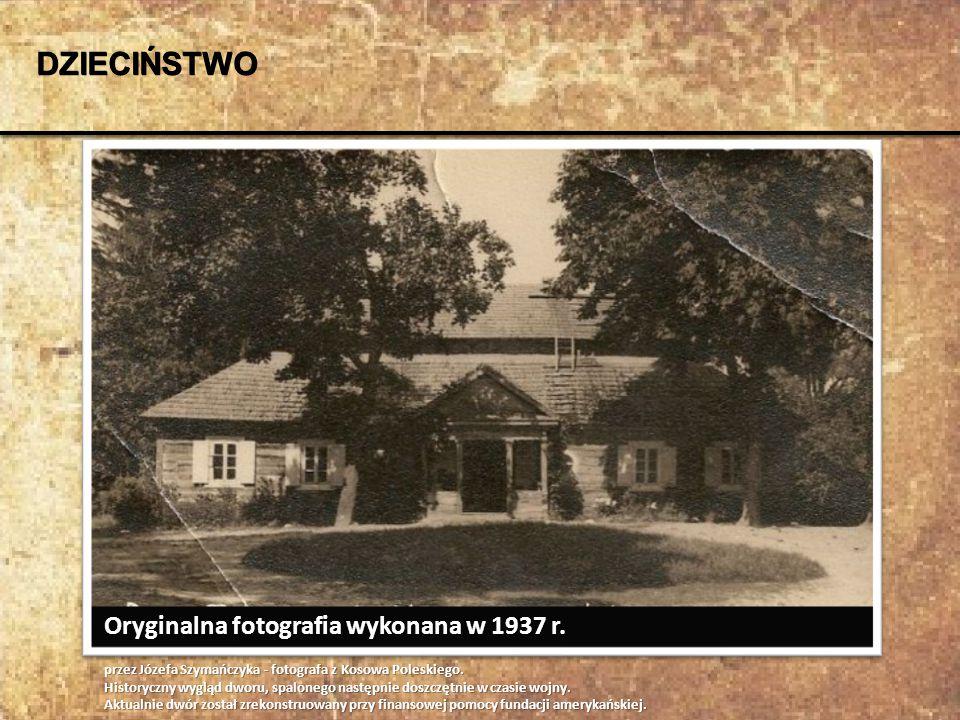 Oryginalna fotografia wykonana w 1937 r. przez Józefa Szymańczyka - fotografa z Kosowa Poleskiego. Historyczny wygląd dworu, spalonego następnie doszc