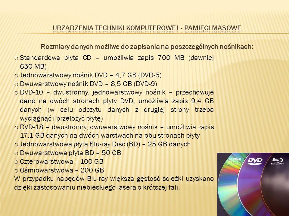 Rozmiary danych możliwe do zapisania na poszczególnych nośnikach: o Standardowa płyta CD – umożliwia zapis 700 MB (dawniej 650 MB) o Jednowarstwowy no