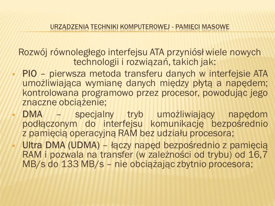 Rozwój równoległego interfejsu ATA przyniósł wiele nowych technologii i rozwiązań, takich jak:  PIO – pierwsza metoda transferu danych w interfejsie