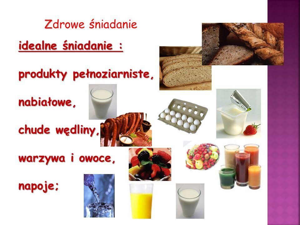 Z Zdrowe śniadanie idealne śniadanie : produkty pełnoziarniste, nabiałowe, chude wędliny, warzywa i owoce, napoje;