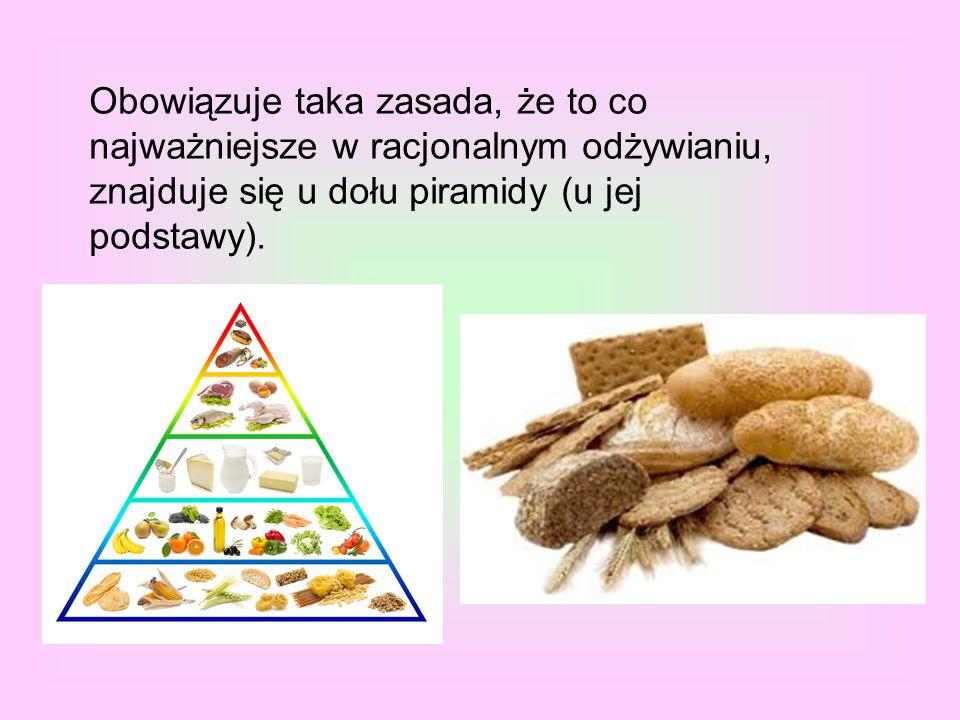 Obowiązuje taka zasada, że to co najważniejsze w racjonalnym odżywianiu, znajduje się u dołu piramidy (u jej podstawy).