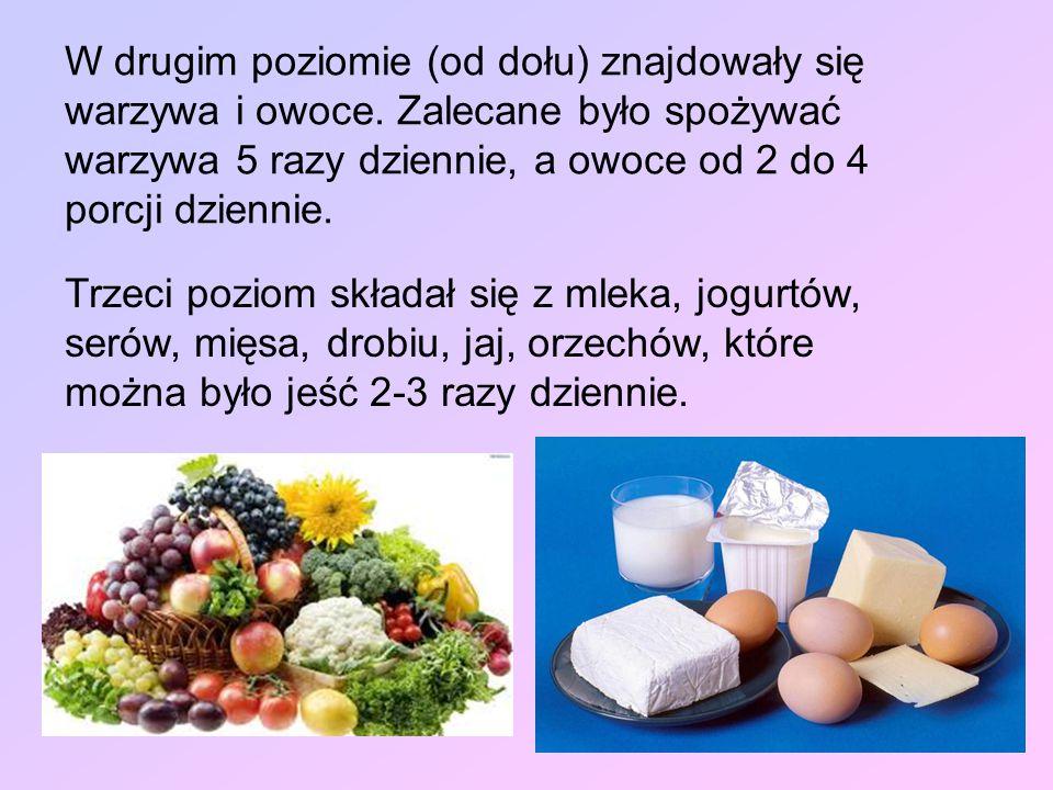 W drugim poziomie (od dołu) znajdowały się warzywa i owoce. Zalecane było spożywać warzywa 5 razy dziennie, a owoce od 2 do 4 porcji dziennie. Trzeci