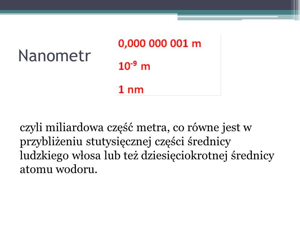 Nanometr czyli miliardowa część metra, co równe jest w przybliżeniu stutysięcznej części średnicy ludzkiego włosa lub też dziesięciokrotnej średnicy a