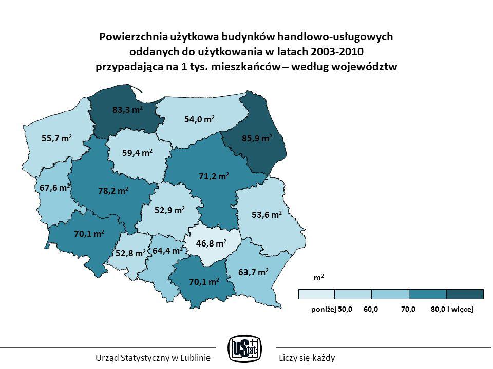 Powierzchnia użytkowa budynków handlowo-usługowych oddanych do użytkowania w latach 2003-2010 przypadająca na 1 tys.