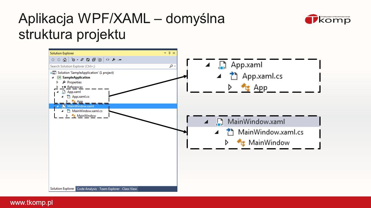 Aplikacja WPF/XAML – domyślna struktura projektu www.tkomp.pl